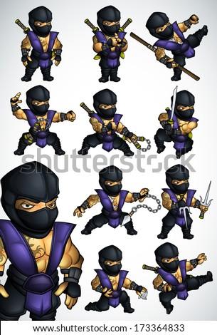 Set of 11 Ninja poses in blue kimono - stock vector