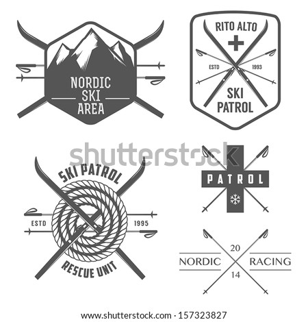 Set of nordic skiing and cross country labels and emblems - stock vector