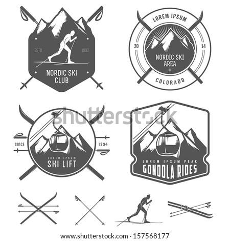 Set of nordic skiing design elements - stock vector