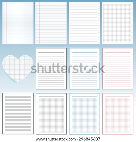 Set of notebook papers - stock vector