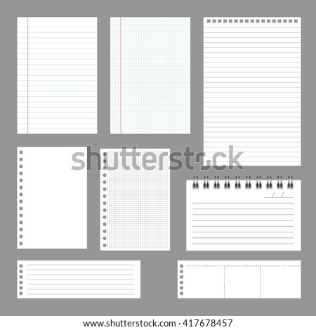Set of notebook papers, vector, EPS 10 - stock vector