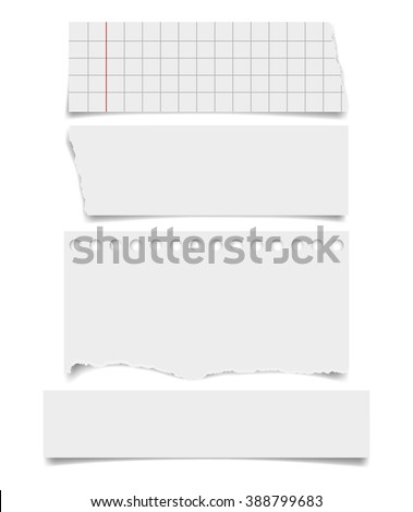 Set of  notepaper sheets with shadow isolated on white background. Squared and lined notebook page wit ragged edges. Torn ragged paper pieces. Realistic vector illustration of paper pieces. - stock vector