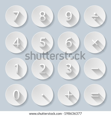 Set of numbers and mathematical signs in paper style - stock vector