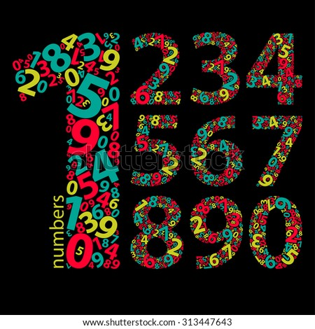 Set of numbers 1-10 made with colored numbers - stock vector