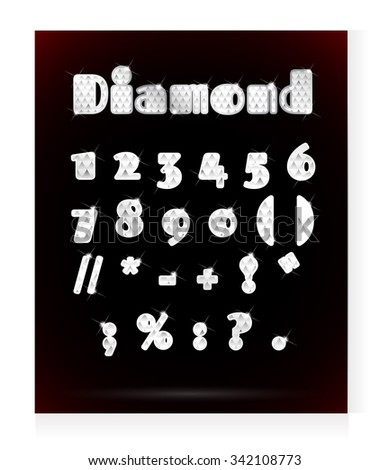 Set of numbers written with diamonds. - stock vector
