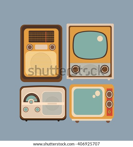 Set of objects in retro style. Old Radio and TV - stock vector