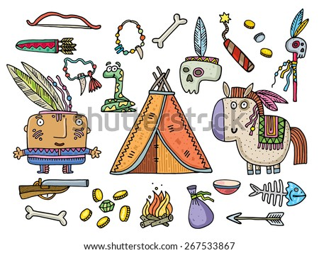 set of objects of life of American Indians. vector illustration - stock vector