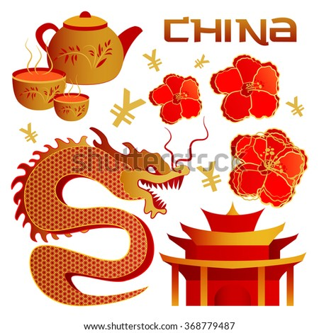 Set of objects the Chinese tradition elements. Chinese theme icon set. Vector illustration - stock vector