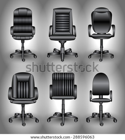 set of office chairs - stock vector