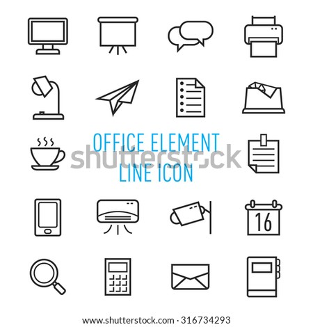 set of office element line icon isolated on white background - stock vector