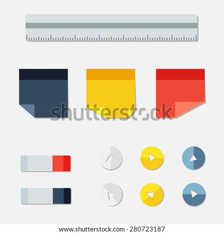 Set of office from stickers, eraser, buttons and ruler. Vector - stock vector