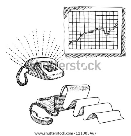 Set of office objects - stock vector