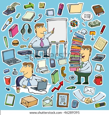 set of office objects and likable employee man vector - stock vector
