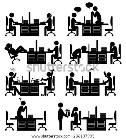 Set of office situation flat icons isolated on white background - stock vector