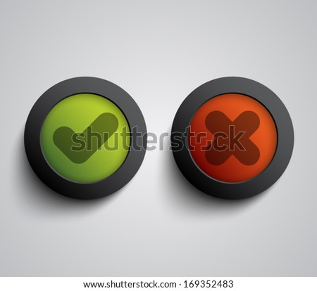 Set of ok and cancel plastic buttons / icons, glossy and modern design for websites (UI) or applications (app) for smartphones and tablets. Validation buttons - stock vector