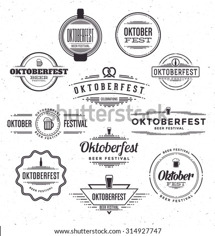 Set of Oktoberfest beer festival celebration retro typographic design templates - Textured vintage style background - stock vector