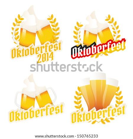 Set of Oktoberfest labels, badges and menu elements - stock vector