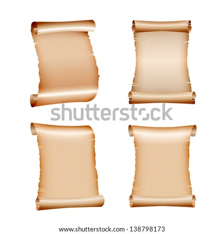 Set of old blank scrolls paper on white background. vector illustration - stock vector