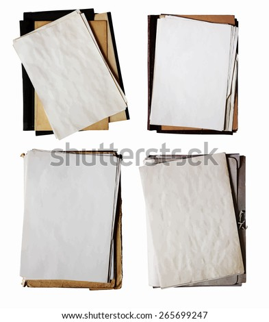set of old folders. vector. - stock vector