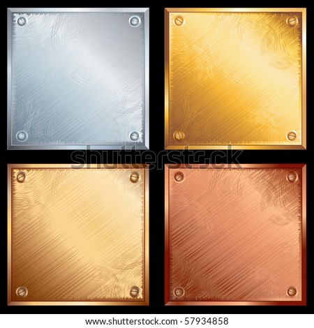 Set of old grunge metallic plates-vector illustration- SIMILAR IMAGES SEE AT MY GALLERY - stock vector