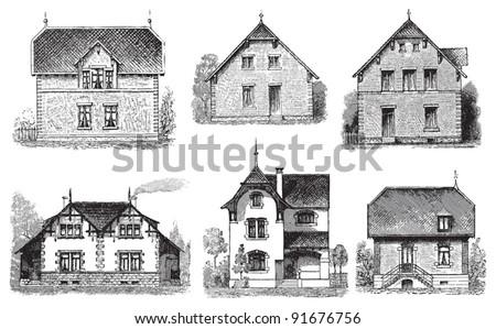 Set of old houses - Vintage illustration from Meyers Konversations-Lexikon 1897 - stock vector