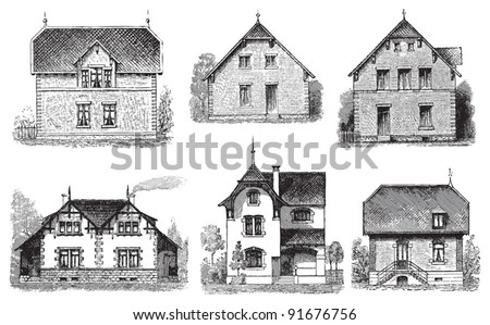 Set of old houses - Vintage illustration / illustration from Meyers Konversations-Lexikon 1897 - stock vector