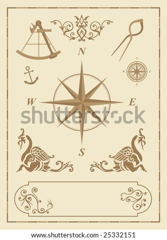 set of old nautical symbols and icons with vintage map design elements - stock vector