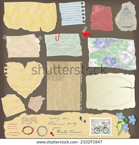 Set of old paper peaces - different aged paper objects, vintage backgrounds and elements - stock vector