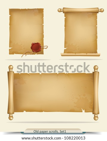 Set of old paper scrolls - stock vector