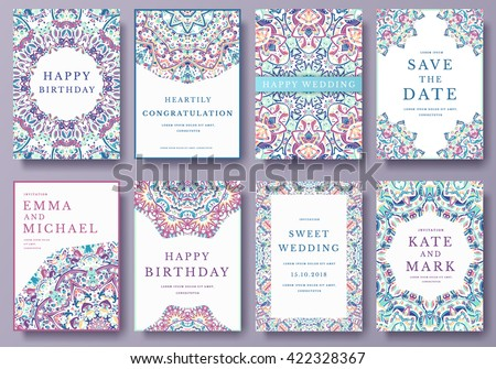 Set of old Ramadan flyer pages ornament illustration concept. Vintage art traditional, Islam, Arabic, Indian, magazine, elements. Vector decorative retro greeting card or invitation layout design - stock vector