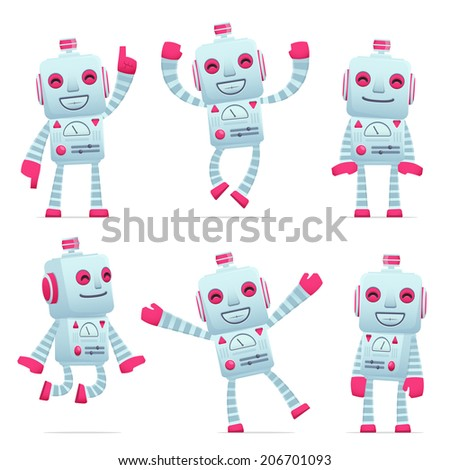 set of old robot character in different interactive  poses - stock vector