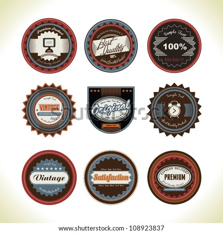 set of old school style badge - stock vector