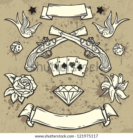 Set of Old School Tattoo Elements - stock vector