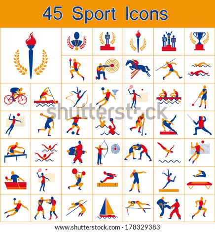 set of olympic summer games icons - stock vector