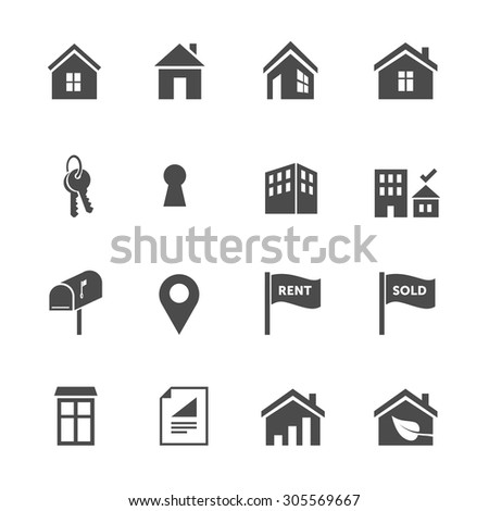 Set of one color real estate flat design icons for home search oriented websites - stock vector