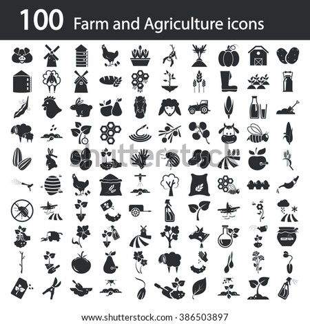 Set of one hundred agriculture icons  - stock vector