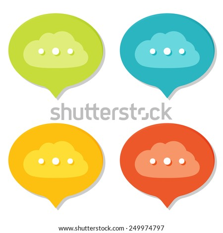 Set of Online Speech Bubbles icons. Flat style with shadows. - stock vector