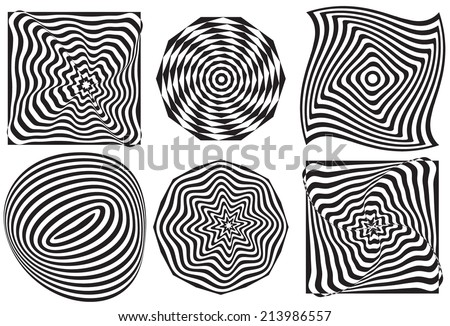 set of Op art, also known as optical art, is a style of visual art that makes   - stock vector