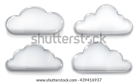 Set of opaque glass clouds in gray colors on white background - stock vector