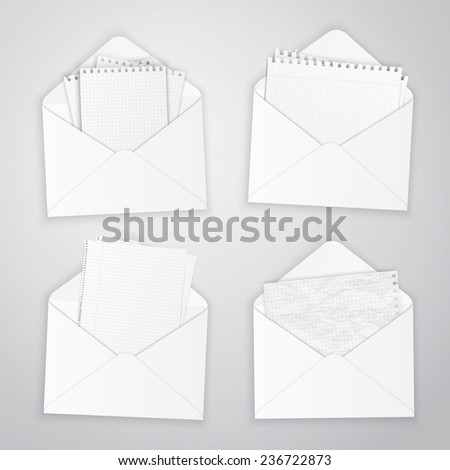 Set of open envelopes with paper, vector illustration - stock vector