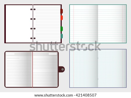 Set of open notebooks with pages, vector illustration EPS 10 for your design and business - stock vector