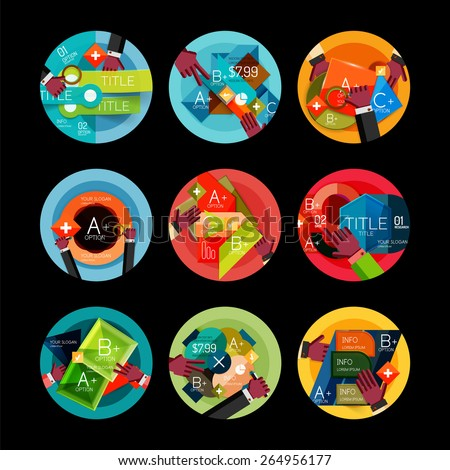 Set of option presentation labels, flat design web infographic boxes, paper graphics with gestures - stock vector