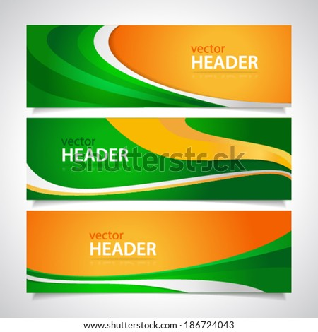 Set of orange and green wavy banners - stock vector