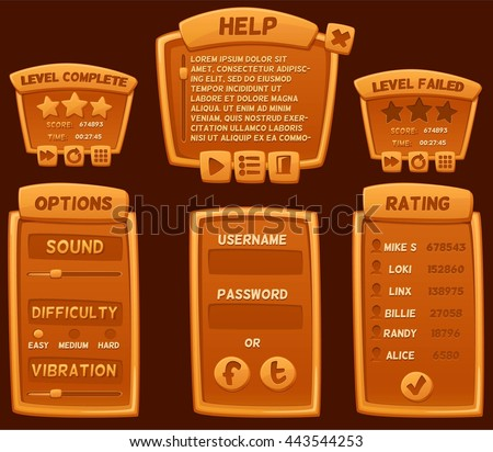 Set of orange cartoon boards and buttons for casual games. Graphic user interface, vector illustration.  - stock vector