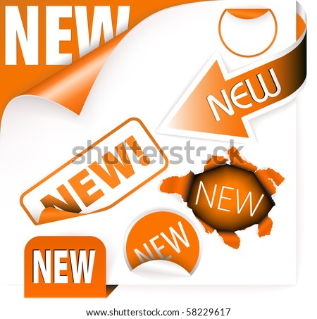 Set of orange elements for new items in eshop or on the web page - stock vector