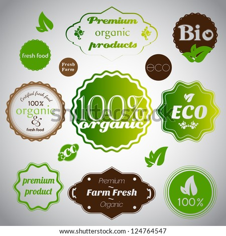 Set of organic and farm fresh food - stock vector
