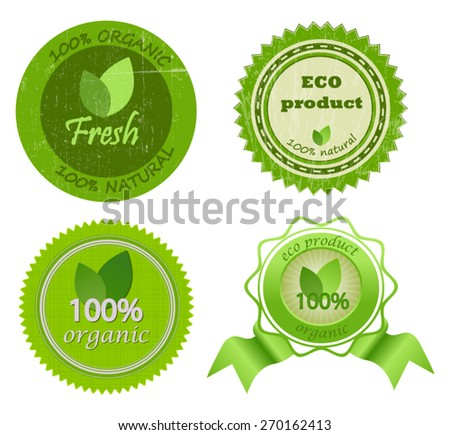 Set of organic badges. Vector EPS10. - stock vector