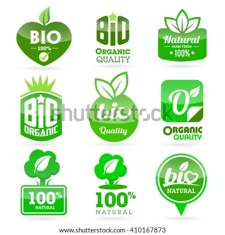 Set of organic-bio - green icons on the white background. - stock vector