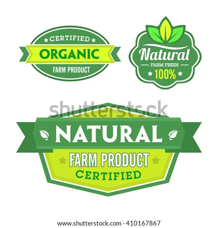Set of organic-bio labels on the white background. - stock vector