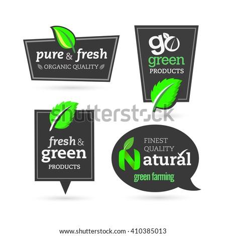 Set of organic-eco-bio-natural labels - stock vector